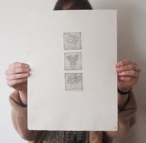 cactus print etching trio