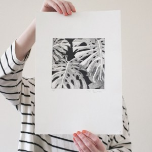 monstera aquatint etching