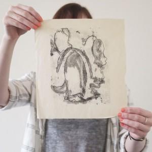 newsprint floral monoprint