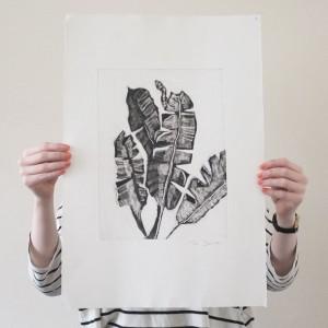 palm leaves monoprint