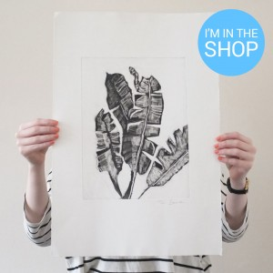palm leaves monoprint sale